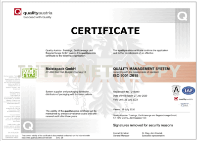 ISO certificate Maistapack english version