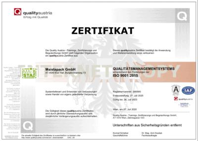 ISO Zertifikat Maistapack