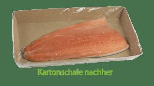 Nachhaltige Verpackung Lachs nachher