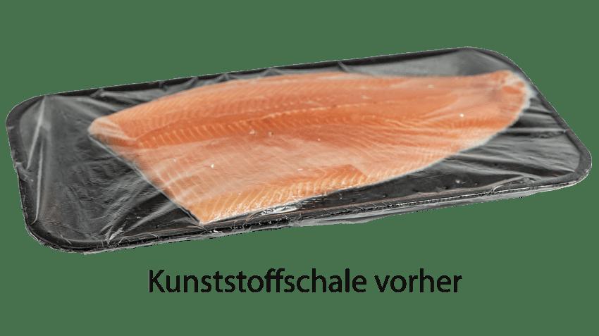 Kunststoffschale für Fisch vorher